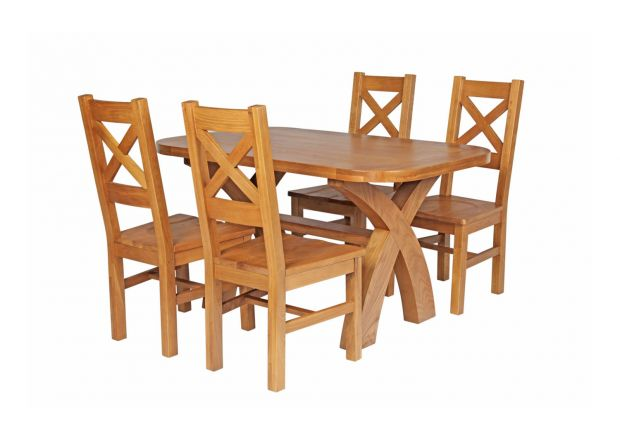 Country Oak 140cm Cross Leg Fixed Oval Table and 4 Windermere Timber Seat Chairs