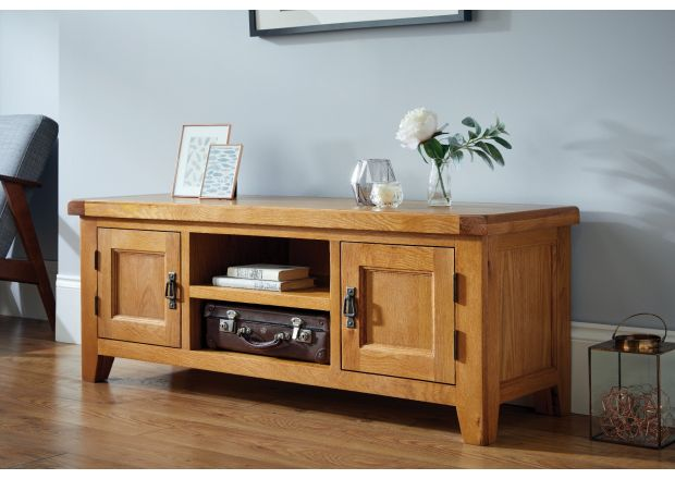 Country Oak Large Double Door TV Unit - WINTER SALE
