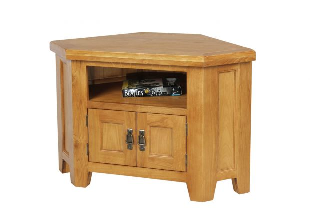 Country Oak 2 Door Corner TV Unit - WINTER SALE