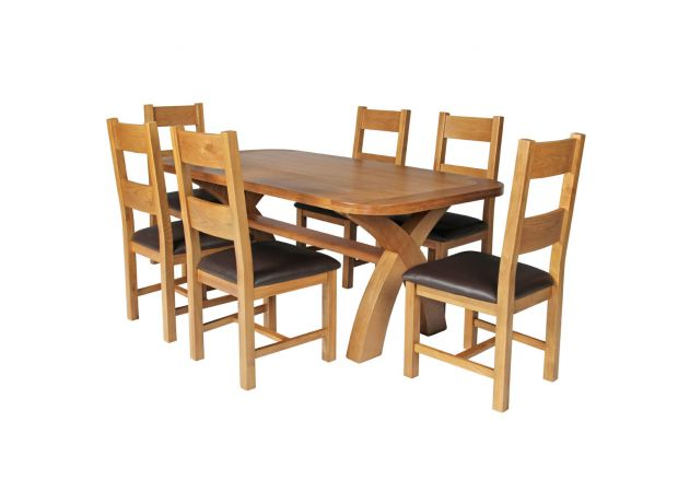 Country Oak 180cm Cross Leg Fixed Oval Table and 6 Chester Brown Leather Chairs