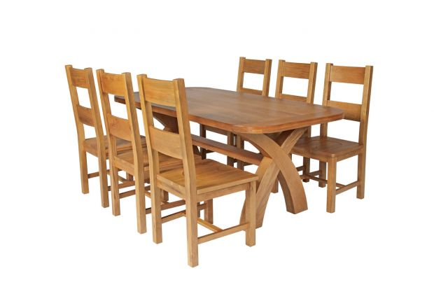Country Oak 180cm Cross Leg Fixed Oval Table and 6 Chester Timber Seat Chairs