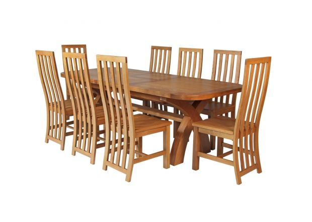 Country Oak 280cm Extending Cross Leg Oval Table and 8 Dorchester Timber Seat Chairs
