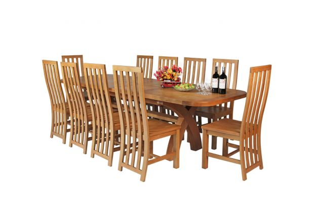 Country Oak 280cm Extending Cross Leg Oval Table and 10 Dorchester Timber Seat Chairs
