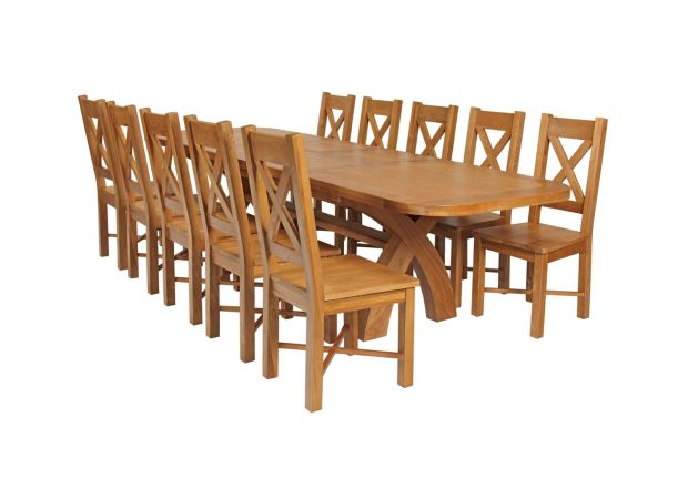 Country Oak 280cm Extending Cross Leg Oval Table and 10 Grasmere Timber Seat Chairs