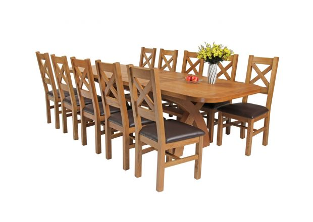 Country Oak 280cm Extending Cross Leg Oval Table and 10 Windermere Brown Leather Chairs
