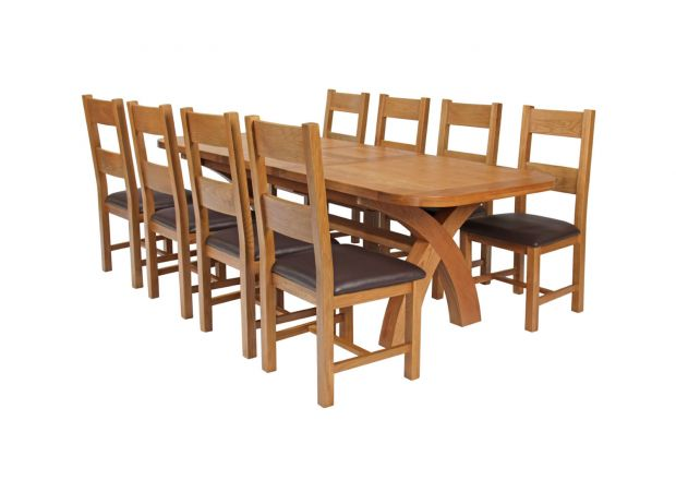 Country Oak 280cm Extending Cross Leg Oval Table and 8 Chester Brown Leather Chairs - SPRING SALE