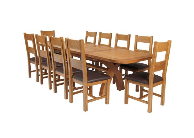 Country Oak 280cm Extending Cross Leg Oval Table and 10 Chester Brown Leather Chairs
