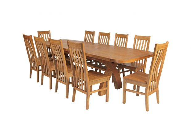 Country Oak 280cm Extending Cross Leg Oval Table and 10 Chelsea Timber Seat Chairs