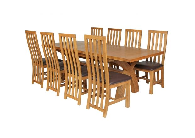 Country Oak 280cm Extending Cross Leg Square Table and 8 Dorchester Brown Leather Chairs