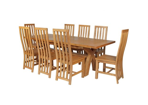 Country Oak 280cm Extending Cross Leg Square Table and 8 Dorchester Timber Seat Chairs