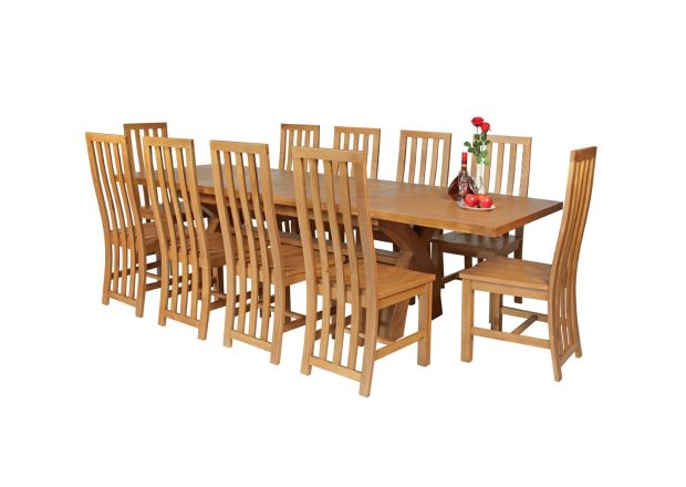 Country Oak 280cm Extending Cross Leg Square Table and 10 Dorchester Timber Seat Chairs