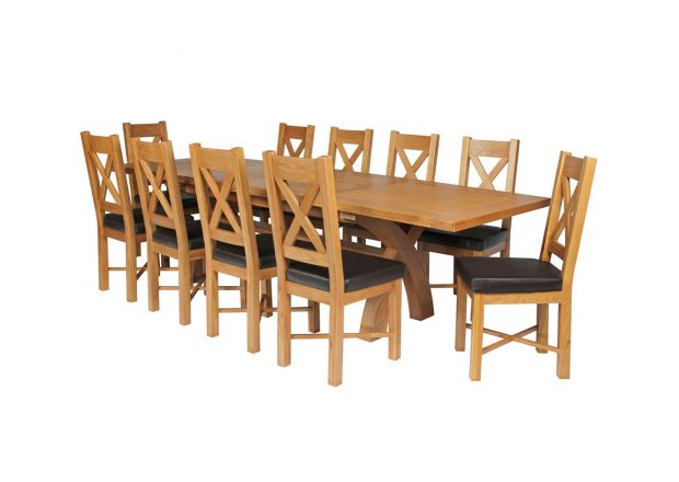 Country Oak 280cm Extending Cross Leg Square Table & 10 Grasmere Brown Leather C