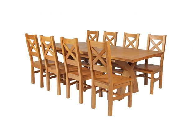 Country Oak 280cm Extending Cross Leg Square Table and 8 Windermere Timber Seat Chairs