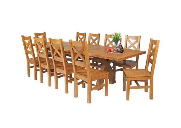 Country Oak 280cm Extending Cross Leg Square Table and 10 Windermere Timber Seat Chairs
