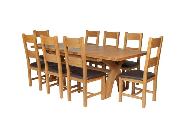 Country Oak 280cm Extending Cross Leg Square Table and 8 Chester Brown Leather Chairs
