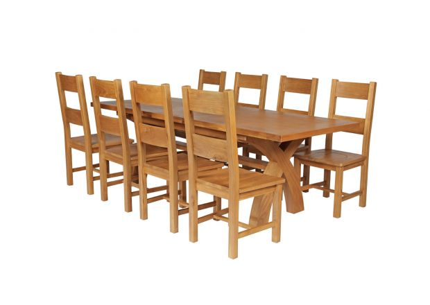 Country Oak 280cm Extending Cross Leg Square Table and 8 Chester Timber Seat Chairs