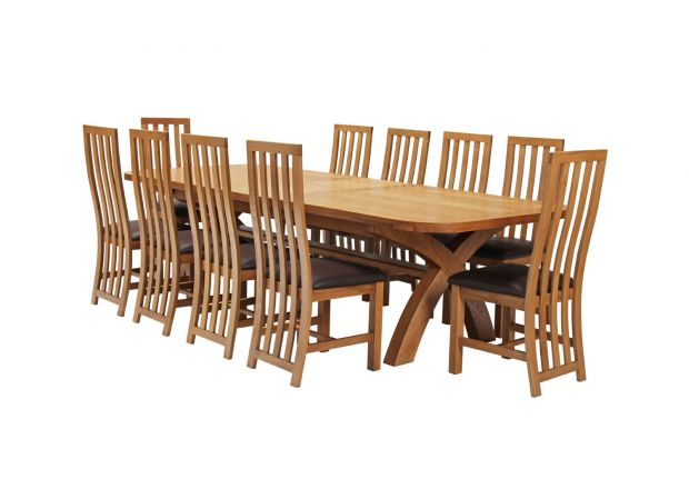 Country Oak 340cm Extending Cross Leg Oval Table and 10 Dorchester Brown Leather Chairs