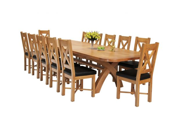 Country Oak 340cm Extending Cross Leg Oval Table and 12 Grasmere Brown Leather Chairs