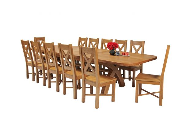 Country Oak 340cm Extending Cross Leg Oval Table and 12 Grasmere Timber Seat Chairs