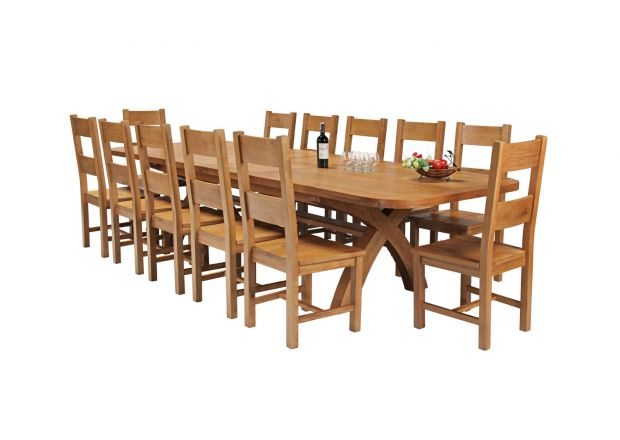 Country Oak 340cm Extending Cross Leg Oval Table and 12 Chester Timber Seat Chairs