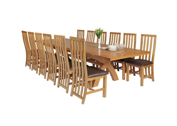 Country Oak 340cm Extending Cross Leg Square Table and 12 Dorchester Brown Leather Chairs