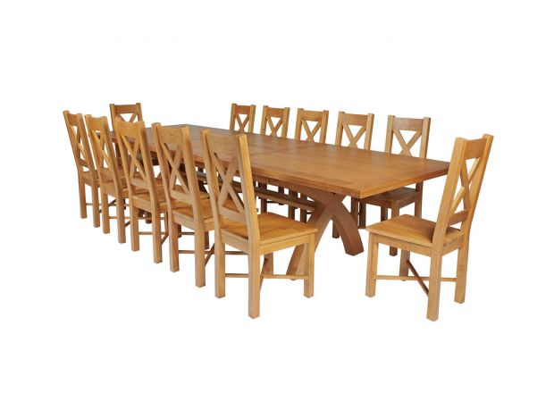Country Oak 340cm Extending Cross Leg Square Table and 12 Grasmere Timber Seat Chairs