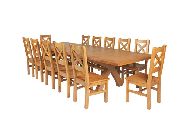 Country Oak 340cm Extending Cross Leg Square Table and 12 Windermere Timber Seat Chairs