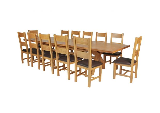 Country Oak 340cm Extending Cross Leg Square Table and 12 Chester Brown Leather Chairs