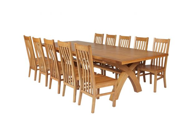 Country Oak 340cm Extending Cross Leg Square Table and 10 Chelsea Timber Seat Chairs
