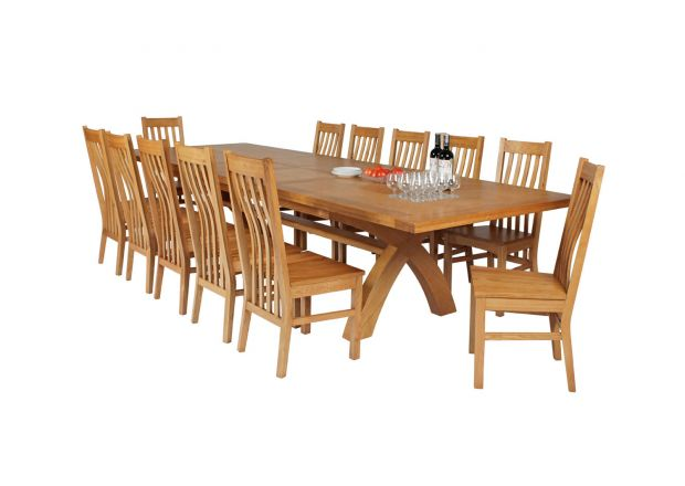 Country Oak 340cm Extending Cross Leg Square Table and 12 Chelsea Timber Seat Chairs