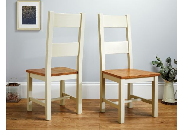 Chester Ladder Back Cream Painted Chair With Solid Oak Seat - SUMMER SALE