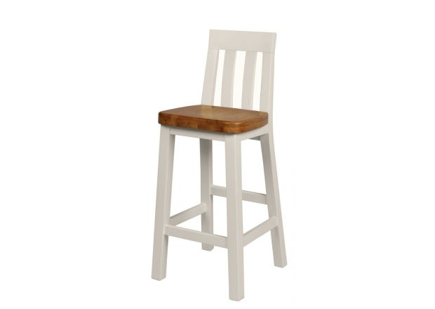 Billy Grey Painted Bar Stool With Solid Oak Seat - WINTER SALE