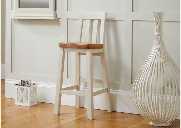 Billy Grey Painted Bar Stool With Solid Oak Seat - SUMMER SALE