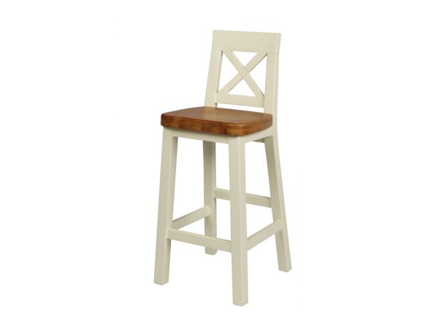 Billy Cross Back Cream Painted Bar Stool - Oak Seat - WINTER SALE