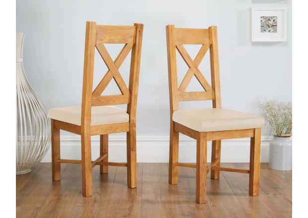 Grasmere Oak Chair with Cream Leather Seat - SPRING SALE