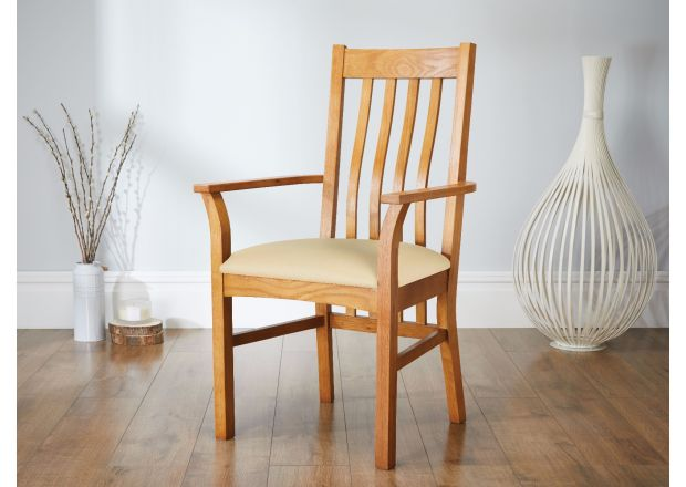 Chelsea Solid Oak Cream Leather Carver Dining Chair - GET 10% OFF WITH CODE SAVE