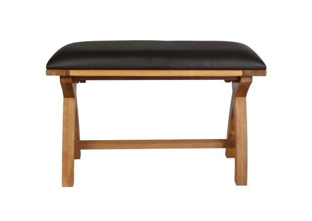 Country Oak 80cm Brown Leather Cross Leg Bench
