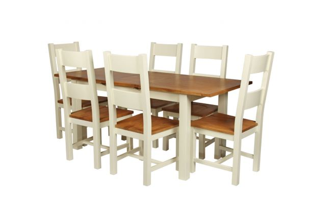 Country Oak 180cm Cream Painted Extending Dining Table and 6 Chester Ladder Back Cream Painted Chairs