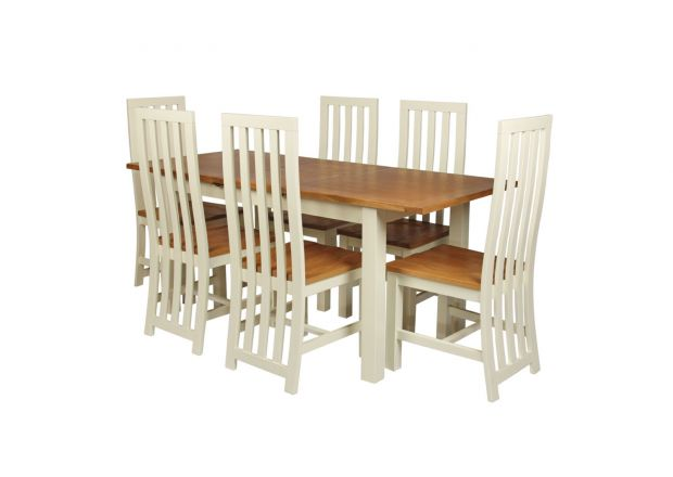 Country Oak 180cm Cream Painted Extending Dining Table & 6 Dorchester Cream Painted Chairs - SUMMER SALE