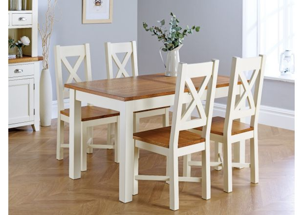 Country Oak 180cm Cream Painted Extending Dining Table and 4 Grasmere Cream Painted Chairs