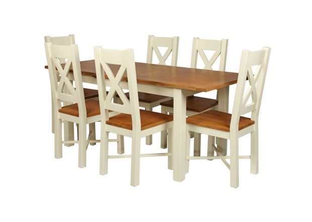 Country Oak 180cm Cream Painted Extending Dining Table and 6 Grasmere Cream Painted Chairs