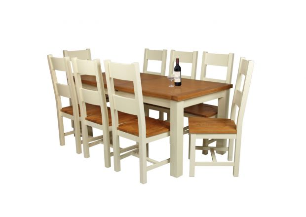 Country Oak 230cm Cream Painted Extending Dining Table & 8 Chester Ladder Back C