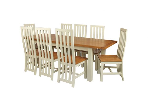 Cream painted oak dining table 8 Dorchester cream oak dining chairs