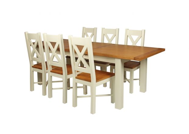 Country Oak 230cm Cream Painted Extending Dining Table and 6 Grasmere Cream Painted Chairs