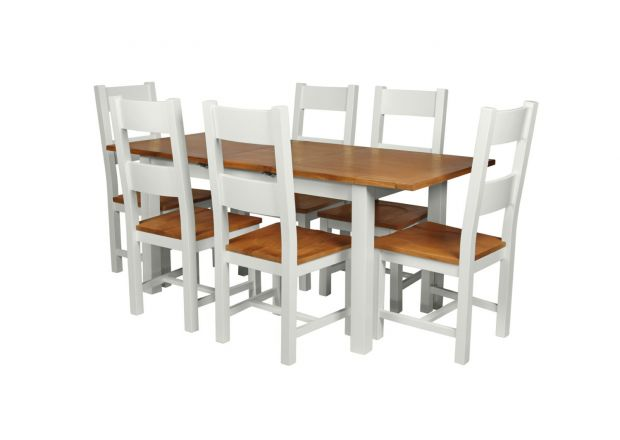 Country Oak 180cm Grey Painted Extending Dining Table and 6 Chester Ladder Back Grey Painted Chairs