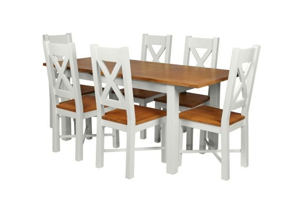 Country Oak 180cm Grey Painted Extending Dining Table and 6 Grasmere Grey Painted Chairs