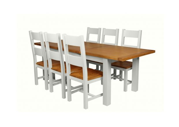 Country Oak 230cm Grey Painted Extending Dining Table and 6 Chester Ladder Back Grey Painted Chairs