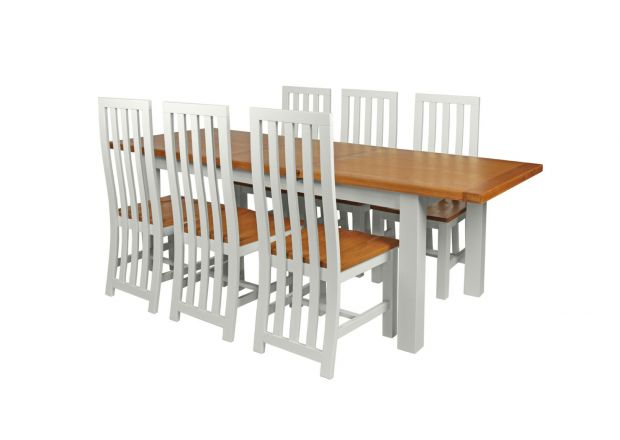 Country Oak 230cm Grey Painted Extending Dining Table and 6 Dorchester Grey Painted Chairs