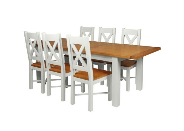 Country Oak 230cm Grey Painted Extending Dining Table and 6 Grasmere Grey Painted Chairs