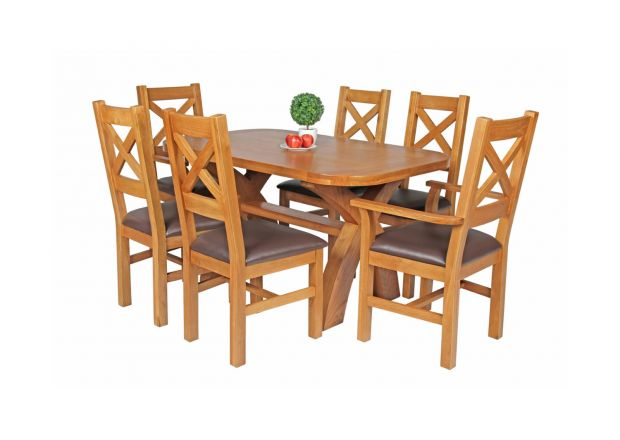 Country Oak 140cm X Leg Oval Table 4 Windermere Brown Leather Chairs and 2 X Windermere Carver Chairs